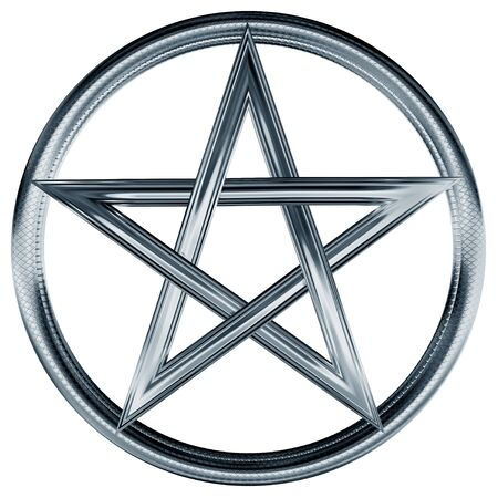 wiccan: Isolated illustration of an ornate silver pentagram