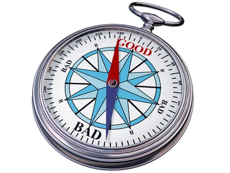 intuition: Illustration of a moral compass helping you to make the right decision
