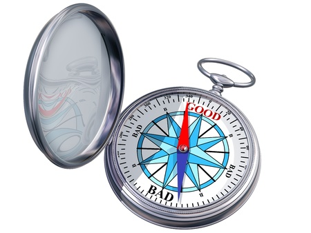 behaviors: Illustration of a moral compass helping you to make the right decision