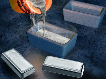 molten: Illustration of a silversmith casting silver into ingot moulds