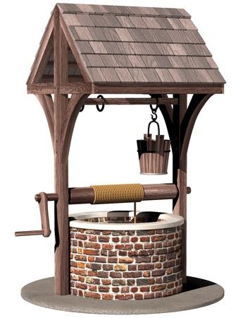 bucket water: Ilustraci�n aislada de un antiguo y m�gico que deseen, as�
