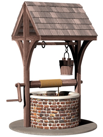 water well: Isolated illustration of an ancient and magical wishing well Stock Photo