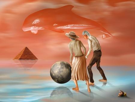 Illustration of an elderly couple in a surreal landscape illustration