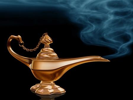 an oil lamp: Ilustración de la lámpara mágica de oro de Aladdin