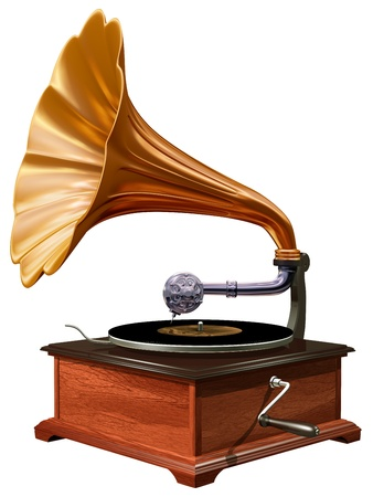 phonograph: Isolated illustration of antique windup gramophone