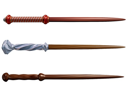 a legend of magic: Isolated illustration of three magical wizard wands Stock Photo