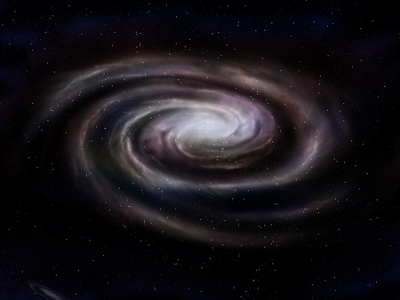 milky way: Illustration of a deep space spiral galaxy