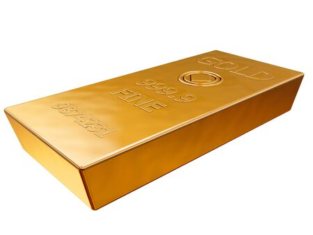 gold bars: Isolated illustration of a pure gold ingot