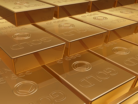 speculate: Illustration of a stack of gold bar reserves
