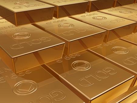 Illustration of a stack of gold bar reserves illustration