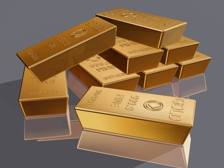 Illustration of a stack of gold bar reserves Stock Illustration - 11854099