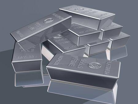 Illustration of platinum reserves piled in a stack