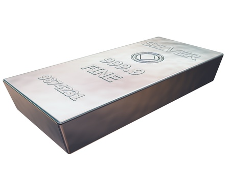 Isolated illustration of a pure silver ingot illustration
