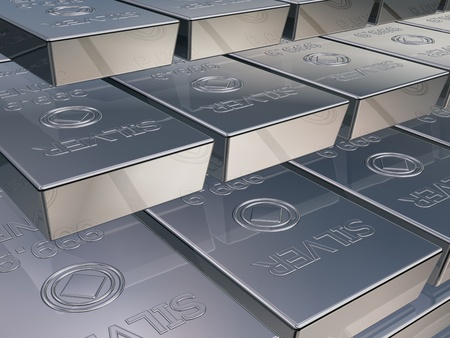 solid silver: Illustration of silver reserves piled high in a stack