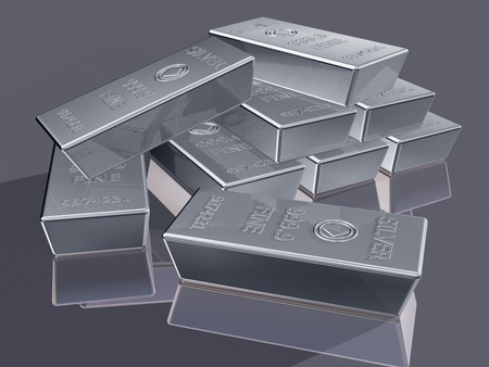 solid silver: Illustration of silver reserves piled in a stack Stock Photo