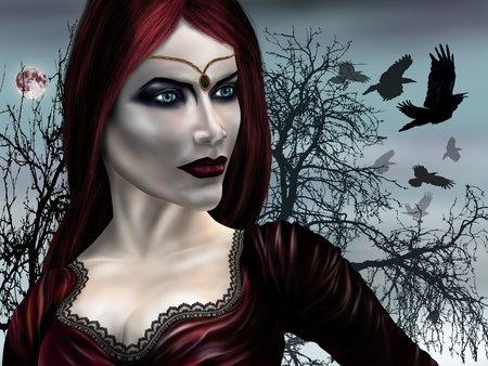 Illustration of a gothic vampire on a misty night illustration