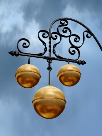 hardship: Pawnbroker shop sign with three golden balls