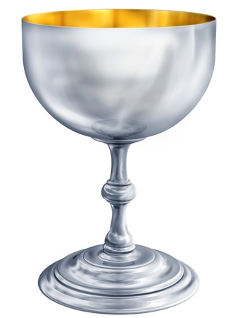 grail: Illustration of a highly polished antique silver chalice