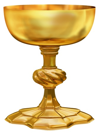 grail: Illustration of an ornate and highly polished antique golden chalice