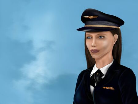 jetset: Illustration of a female airline pilot looking to the skies