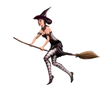 broomstick: Isolated illustration of a young witch flying around the sky on a broomstick