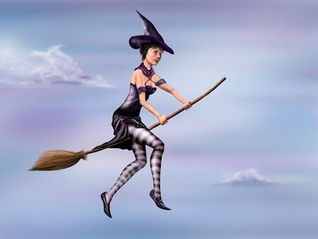 Illustration of a young witch flying around the sky on a broomstick illustration