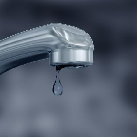 lekken: Illustratie van een lekkende kraan met water wordt verspild