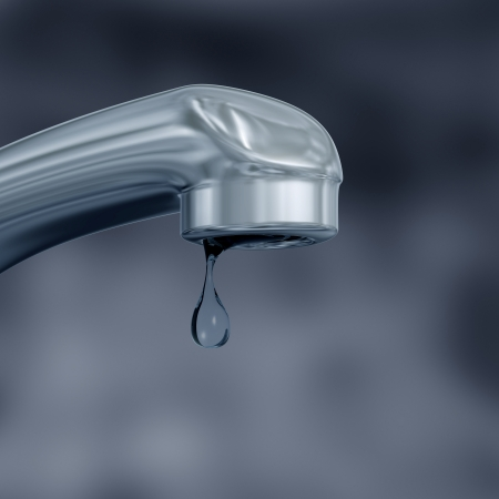 ahorrar agua: Ilustraci�n de un agua de grifo que gotea desperdicia mostrando