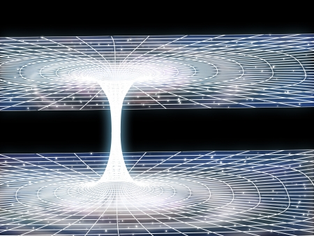 explanation: Illustration of a wormhole ripping its way through outer space Stock Photo