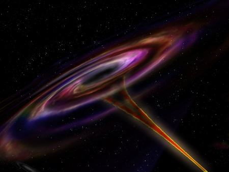 black hole: Illustration of a wormhole ripping its way through outer space Stock Photo