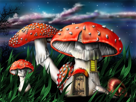 magical forest: Illustration of enchanted magical mushrooms in the forest Stock Photo