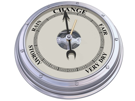 atmospheric pressure: Isolated illustration of a barometer indicating changing conditions Stock Photo