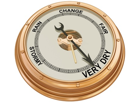 Isolated illustration of a barometer indicating very dry conditions Stock Illustration - 14256132
