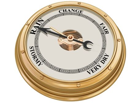 aneroid: Isolated illustration of a barometer indicating persistent rain