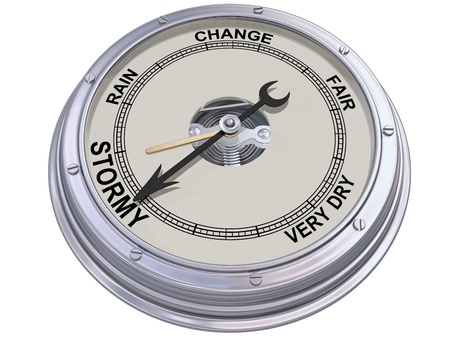 aneroid: Isolated illustration of a barometer indicating an ominous storm