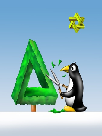 tree trimming: Illustration of a penguin trimming an impossible Christmas tree Stock Photo