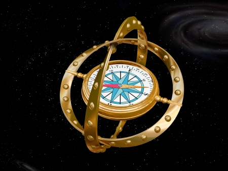 quantum physics: Illustration of a compass navigating the bizarre nature of curved space