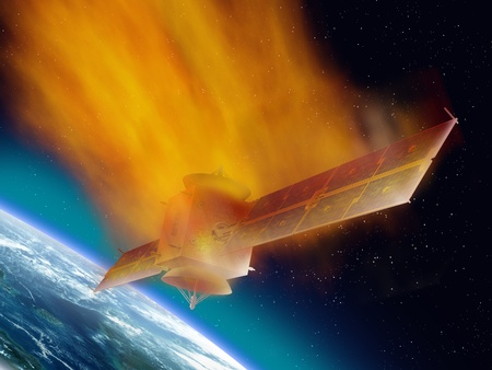 uncontrollable: Satellite hurtling through space burning up as it enters the atmosphere Stock Photo