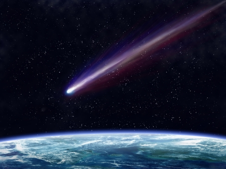 Illustration of a comet flying through space close to the earth Stock Photo
