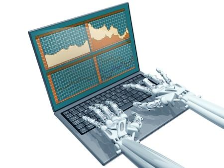 mano robotica: Ilustración de un comerciante robot en un ordenador portátil Foto de archivo