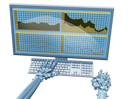 sell shares: Illustration of a robot trader on a computer
