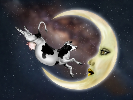 Illustration of a dairy cow jumping over the moon illustration