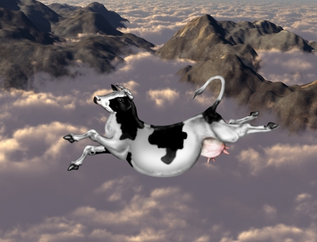 mountaintops: Illustration of a cow flying over clouds and mountains Stock Photo