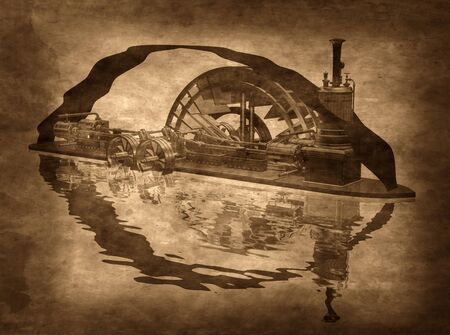 engine pistons: Illustration of a grungy steampunk riverboat on a sepia background