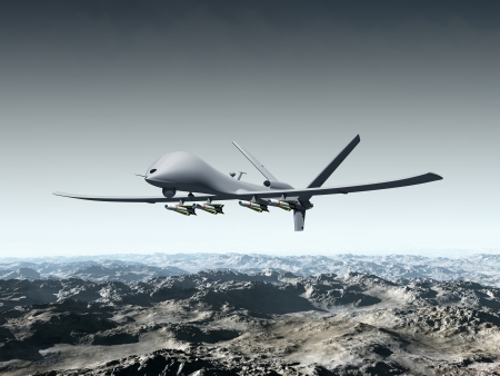 drone: Illustration of a combat drone flying over barren mountains