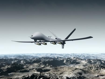 nieużytki: Ilustracja z warkotem walki latające nad jałowe góry Zdjęcie Seryjne