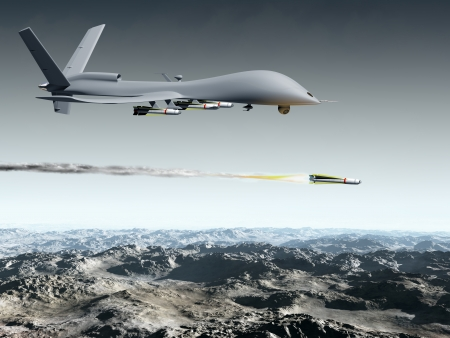 defense: Drone aircraft launching an air to ground missile Stock Photo
