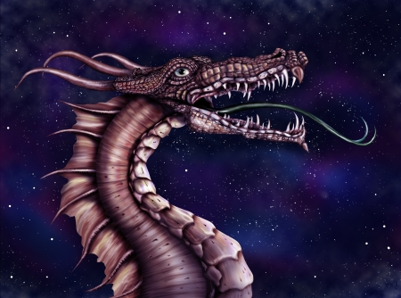 legends folklore: Illustration of a fierce dragon with a star filled night sky