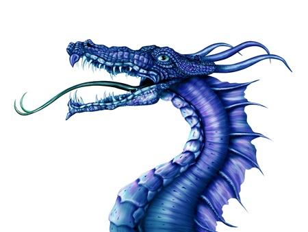 dragones: Ilustraci�n de un feroz drag�n azul sobre un fondo blanco
