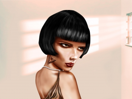 bob: Illustration of a woman with a short black bob hairstyle